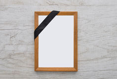 Picture frame with mourning band Stock Photo
