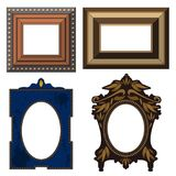 Picture frame museum interior exhibition decorative vector photo art gallery on vintage antique decoration wall. Stock Photos