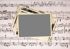 Picture frame. On music vintage music  sheet background Royalty Free Stock Photography