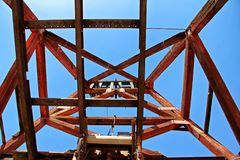 Frame of an oil well in Jerome Arizona royalty free stock image