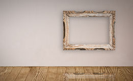 Picture frame in old wall. Royalty Free Stock Images