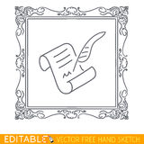Picture in frame parchment and pen. Editable vector icon in linear style Royalty Free Stock Image