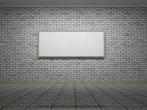 Picture frame or photo on the white bricks wall of the room Royalty Free Stock Photos