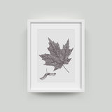Picture frame for photographs. Picture frame with autumn leaf photograph. Vector realisitc paper plastic white picture-framing mat with wide borders shadow royalty free illustration