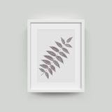 Picture frame for photographs. Picture frame with autumn leaf photograph. Vector realisitc paper plastic white picture-framing mat with wide borders shadow vector illustration