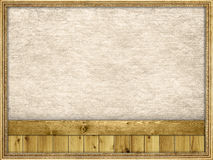 Picture frame, planks and paper background Stock Photos