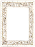 Picture Frame Plumeria Applied Arts small. Picture Frame Plumeria Applied Arts pattern pencil sketch design brown color Royalty Free Stock Photos