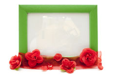 Picture frame with red rose loop Stock Photo