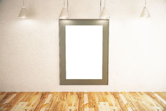 Picture frame in room. Front view of blank picture frame in room with concrete wall, wooden floor and ceiling lamps. Mock up, 3D Rendering Stock Image
