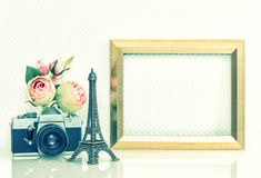 Picture frame rose flowers vintage camera. Eiffel Tower Paris Royalty Free Stock Photography