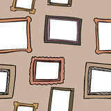 Picture Frame Seamless Pattern. A seamless pattern of drawn picture frames on a brown background Royalty Free Illustration