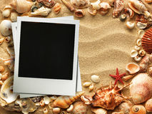 Picture frame on shells and sand background Royalty Free Stock Images