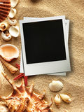 Picture frame on shells and sand background Royalty Free Stock Photos