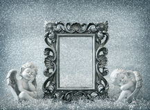 Picture frame with sleeping angel. Vintage style decoration Royalty Free Stock Photography