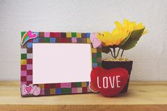 Picture Frame and sunflower for Home Decoration stock photos