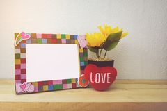 Picture Frame and sunflower for Home Decoration stock images