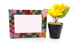 Picture Frame and sunflower for Home Decoration, isolated background stock photo