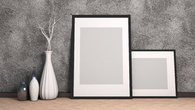 Picture frame and vase on wood floor decorate. 3d illustration.  Stock Image