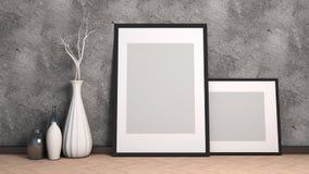 Picture frame and vase on wood floor decorate. 3d illustration.  stock illustration