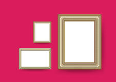 Picture frame vector. Photo art gallery on vintage wall. Stock Photos