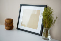 Free Picture Frame With Wooden Pencil Holder And Vase Stock Images - 84095024