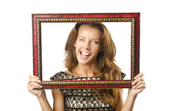 Picture frame and woman. Picture frame and attractive woman stock photography