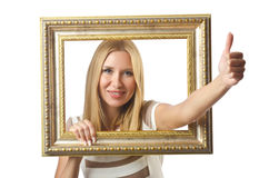 Picture frame and  woman Stock Images