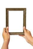 Picture frame in woman hand Stock Photo