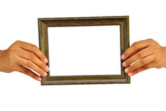 Picture frame in woman hand Royalty Free Stock Photo