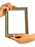 Picture frame in woman hand Stock Photography