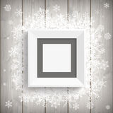Picture Frame Wood Snowflakes Royalty Free Stock Image