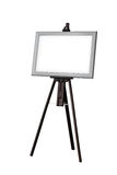 Picture frame with wooden easel isolated Royalty Free Stock Images
