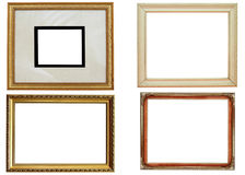 Picture Frames. A set of four old picture frames for family portraits with copy space; clipping path for outer and inner frames included Stock Photography