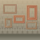 Picture frames. Vector illustration of five wooden picture frames on wallpaper background royalty free illustration