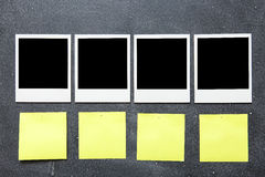 Picture frames and Adhesives Notes on gray background Stock Photos
