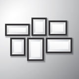 Picture Frames Black Variety. Variety sizes of realistic black picture frames with empty space  on white background for presentation and showcasing purposes Stock Photo