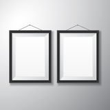 Picture Frames Black Vertical. Realistic vertical black picture frames with empty space  on white background for presentation and showcasing purposes Stock Photo