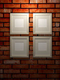 Picture frames on a brick wall. 3d picture frames on a black brick wall Stock Photography