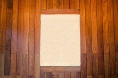 Picture frames on brown wooden boards background stock photography