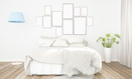Picture frames collage on a bedroom wall. 3d rendering mockup royalty free stock photography