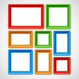Picture Frames Collage. Collafe of color picture frames or borders for photo or painting Royalty Free Stock Image