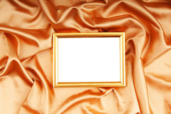 Picture frames on the color satin. Background royalty free stock photos