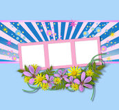Picture frames decorated with flowers Stock Photography