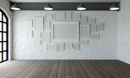 Picture frames in empty room Royalty Free Stock Images