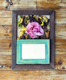 picture frames and flowers and leaves Stock Photo