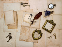Picture frames, keys, flowers, old letters Royalty Free Stock Image