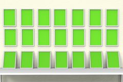 Picture frames_Photo art gallery 3D Illustration royalty free stock photography