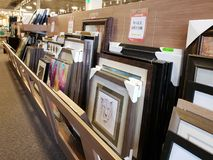 Picture frames for sale at furniture market, TX USA.  stock image