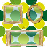 Picture frames. Set of three wooden picture frames with glass on a dotted background Stock Photo