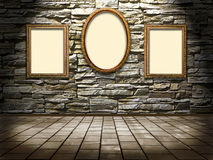 Picture frames on a stone grange background Royalty Free Stock Images